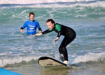 Learning to surf in Hawaii.